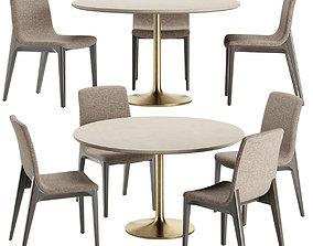 Brown Marble Dining Table with Talin Chair Doimo 3D