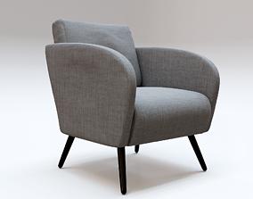 Gray Fabric Armchair 3D