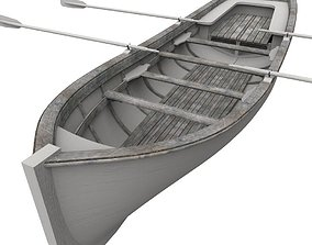 3D asset game-ready Row boat