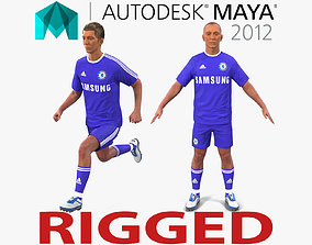 3D Soccer Player Chelsea Rigged 2 for Maya