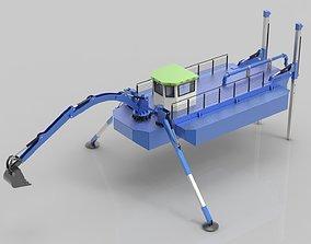 boat Dredger Boat Amphibian Multifunction 3D model