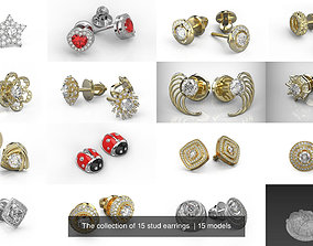 The collection of 15 stud earrings printable 3D model