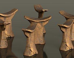 3D asset Headrest Africa Wood Furniture Prop 35