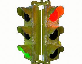 3D asset Traffic Light Clean and Scratch Textured