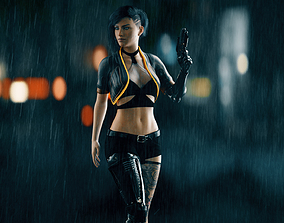3D asset Cyberpunk Female - Fully Rigged and Textured