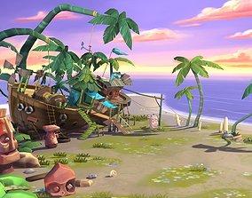 Cartoon beach 3D asset