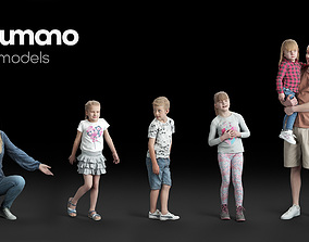 Humano Casual Kids and Adults - 5x 3D models