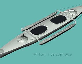 Aluminium canoe kayak 3D