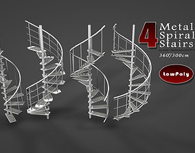 3D model VR / AR ready Metal Spiral Stairs