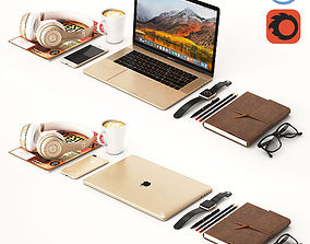 3D model Workplace Gold MacBook