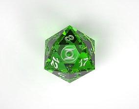 Green Lantern D20 Dice 3D print model