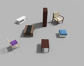 low poly furniture collection 3D model