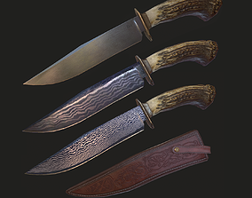 Survival Bowie Knife - Stag Crown Antler Handle 3D model 1
