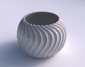 Bowl spheric with wavy extruded lines 4 3D printable model