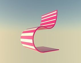 pink and white chair 3D asset