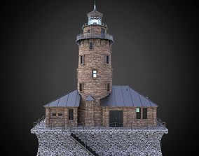 3D model Lighthouse with building architecture and 1