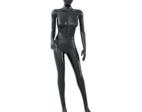 3D Female black mannequin in a standing pose 57