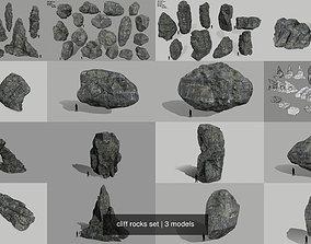 3D cliff rocks set