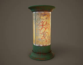 3D asset Weathered Advertising Column PBR Game Ready