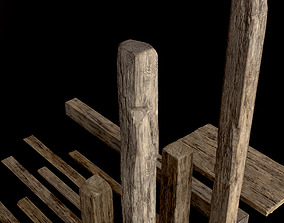 Wooden Planks and Beams - 13 pieces 3D asset