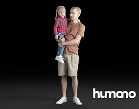 3D model Humano Casual Man holding a child Standing and 1
