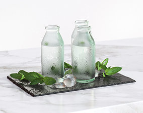 Glass bottles with water standing on a 3D model