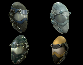 3D model Helmet sci fi 4 texture options low and high poly
