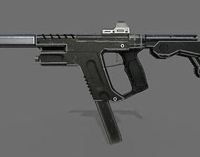 3D asset Stylized Sub machine Gun