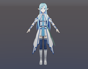Cute Pretty Asuna Cosplay rigged Animated 3D model