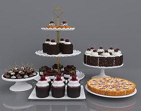 3D model Dessert with cherry chocolate cake