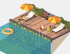 isometric Relax pool on the sun loungers 3D asset