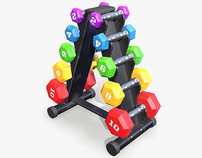 3D model Dumbbell Rack lowpoly