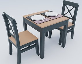 Dining table set for 2 Pack A 3D model VR / AR ready