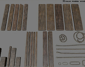 3D model woods and rope