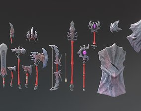 Fantasy Weapon Stone set 3D asset