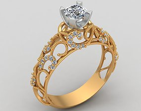 3D print model Engagement One Stone Diamond Solitaire Gold