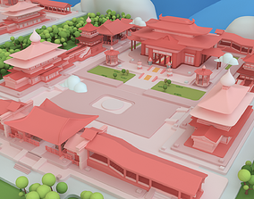 Low poly Chinese architecture with interior 3D model