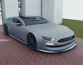 BLENDER EEVEE Brandless Sports GT coupe 3D asset