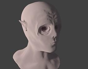 Head Bust of Elvish Creature high poly 3D model