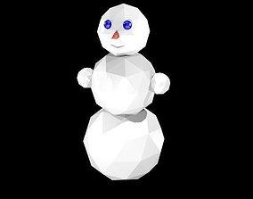 3D model Low poly snowman