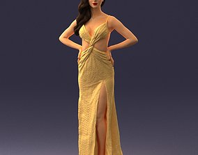 3D Brown-haired girl in yellow dress 0311
