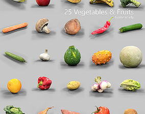 25 Fruits and Vegetables Collection 3D asset