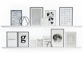 Black and White Wall Frames 3D model