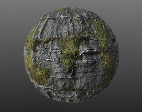 3D model Mossy Cliff Rock 002 PBR Material Texture