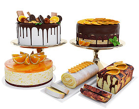Orange cake collection 4 3D model