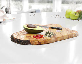 3D Wooden cutting board with avocado