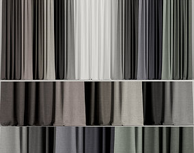3D model A set of curtains in different colors with