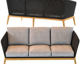 COSTA RICA Anthracite Grey 3-Seater Woven Cord Garden 3D