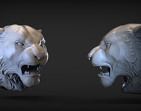lion 3D print model Angry Tiger head