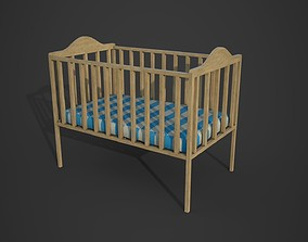 Baby Bed Low Poly PBR 3D Model realtime